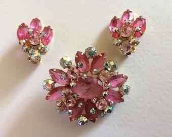 DELIZZA & ELSTER Juliana Pink Rhinestone Brooch and Earrings  Demi Parure