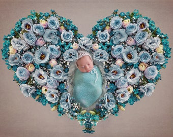 Newborn Digital Backdrop/ Prop / Photography /  Fresh flowers heart (Gaidar)