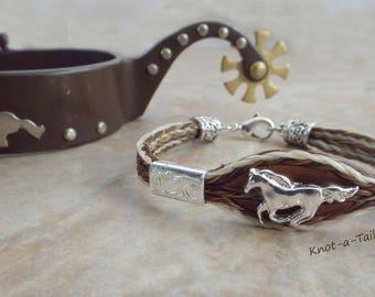 RUN WILD, horsehair bracelet, horse concho, horse lover bracelet, Equestrian gift, hand-made, horsehair bracelet, Cowgirl bracelet, Rodeo
