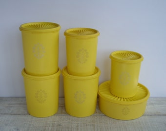 Vintage Yellow Tupperware Canister Set ~ Retro Kitchen Canisters ~ 70's Pantry Storage Containers ~ 70s Flour Sugar Coffee Canister Set