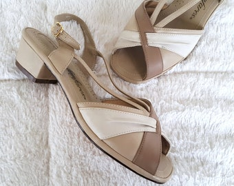 Vintage Strappy Sandals Chunky Block Heels Peep Toe Vegan Leather Tan Beige Cute Classic Summer Shoes Size 8