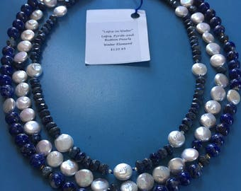"""Triple Strand Lapis and Button Pearl Necklace """"Lapis in Water"""""""