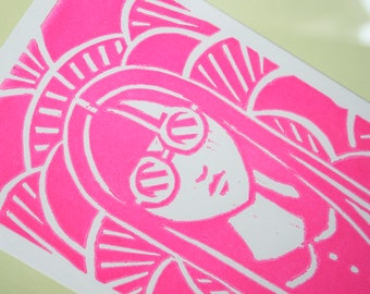 Neon Pink Electric Lady Wood Block Print - Framed