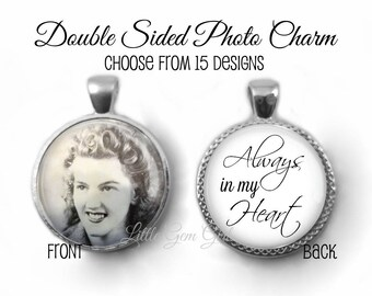 Wedding Bouquet Photo Charm - Bridal Bouquet Memory Charm - Double Sided Always in My Heart Necklace Pendant 5 Colors & 15 Styles Available