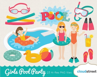 BUY 2 GET 1 FREE girls pool party clip art / pool clipart / girl pool party clipart / vector summer clip art / commercial use ok