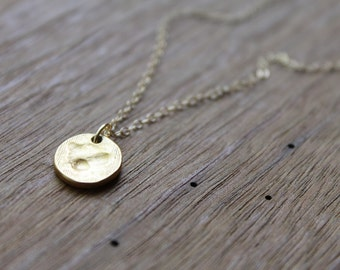 Charlotte Hammered Matte Gold Dot on Gold-Filled Chain Necklace