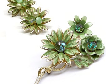 Vintage 1960s Coro Jewelry Set Flower Brooch or Pin and Clip Earrings Set Coro Flower Jewelry