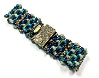 Teal Mint Woven Boho Bracelet, Beaded Boho Bracelet, Coordinated Jewelry