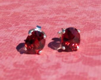 Garnet Earrings - Checkerboard Garnet Post Earrings - Oval Garnet & Sterling Silver Gemstone Post Earrings - January Birthstone