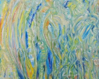 In the Wind 2012 Original Oil Abstract Painting 75 cm x 100 cm signed by artist Karen Moss