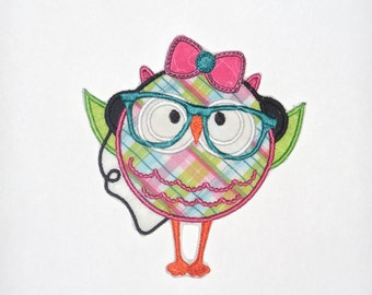 """Embroidered Iron on """"Girl Music Owl"""""""
