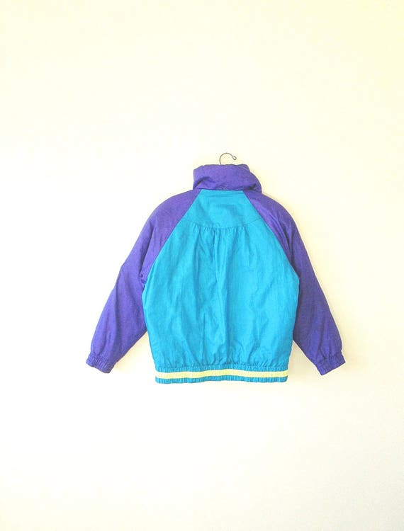 80s SKI Wms Geo Sz M Stripe Vintage Jacket Chevron GOOSE DOWN Neon 5URBwUq4