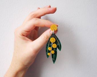 Golden Wattle Dangly Earrings in Swirly Green and Glittery Yellow Acrylic