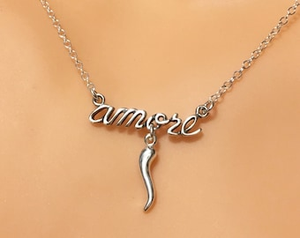 Sterling Silver Italian Amore Horn Love Pendant Necklace Dainty Petite Mini