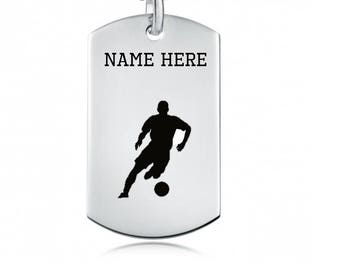 Personalized Soccer Necklace, Sports Name Necklace, Customized Jewellery, Dog Tag, Gifts for Athletes, Personalized Military Chain
