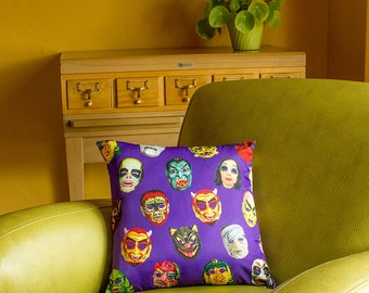 Halloween Masks Throw Pillow Cover - photorealistic vintage Halloween masks - custom backgrounds - 2-sided printing - 3 sizes
