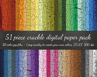 Crackle Paint Digital Scrapbook 51 Piece Paper Pack - 50 Colors & Chipped Paint DIY Overlay - Old Paint Scrapbook Paper Digital Paper Pack