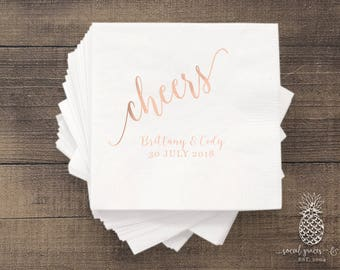 Cheers Newlyweds | Customizable Wedding Cocktail Napkins