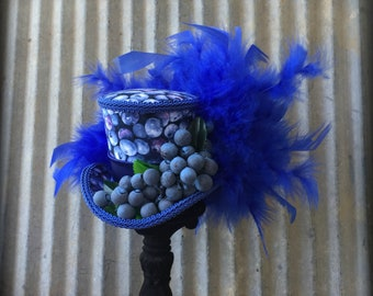 Mini Top Hat, Blueberry Mini Top Hat, Summer Festival Mini Top hat, Picnic hat, Alice in Wonderland, Mad Hatter, Small mini