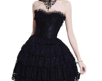 Black lace steampunk goth victorian tiered punk alternative wicca vamp corset dress Size UK 6