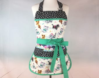 Vendor Utility Apron with Bib, 6 Pockets, Size S-M,  Teachers Aprons, Gardening, Farmers Market, Dream Kitties Apron