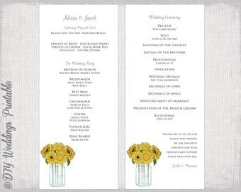 "Wedding program template ""Sunflowers"" wedding program templates printable order of ceremony -DIY order of service -YOU EDIT download"