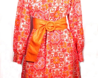 Vintage Mod Dress - 1960s Mod Polyester Dress by Bleeker Street - Neon Pink + Orange Floral - Fluorescent Dress