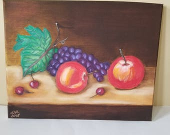 Fruit on a Table, Original Oil  Painting, 9 x 12
