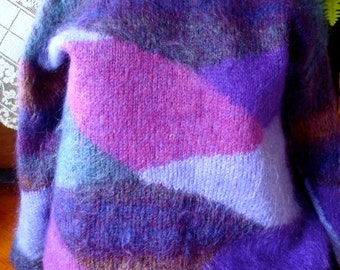 Vintage Purples patterned sweater Indie Jumper Boho handknit mohair womens sweater