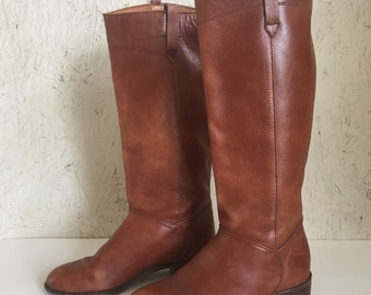 Vintage 70s Leather Campus Boots Made in Uruguay Size 7 M
