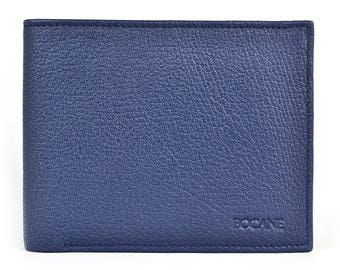 Slim Leather Wallet, Bifold, Pebbled Navy Leather