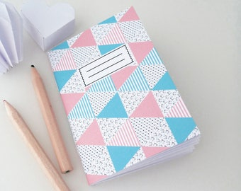 Mini A7 notebook Scandinavian patterned blue and pink
