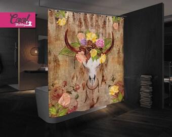 Sugar Skull Shower Curtain, Bull Skull Bathroom Decor, Bathroom Shower Set 44