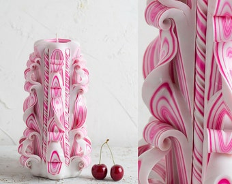 Big White candle, Pink stripes, Party decoration, Carved candle, Decorative candle, Purity candle, Candle shop, Gift ideas, резные свечи