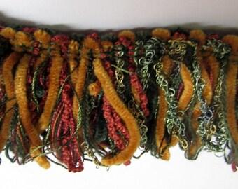 CHENILLE  loop fringe pumkin/ teal/ brique red/forest green multicolor trim