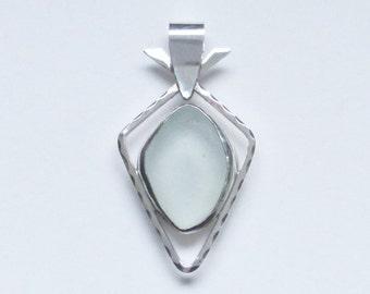 Sea Glass Jewelry - Sterling Pale Seafoam Sea Glass Pendant