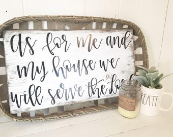 As for me and my house we will serve the Lord// Home decor// Wooden sign