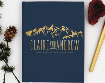Real Gold Foil Wedding Guest Book Gold foil Guest Books Custom Guestbook Mountain Wedding - navy