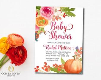 Little Pumpkin Baby Shower Invitation, Floral Fall Baby Shower Invitation, Printable, DIY, Little Pumpkin on the way, watercolor pumpkin