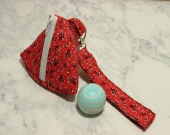 Triangle Zipper Pouch with Matching Key Wristlet EOS Pacifier Holder Bag Contrasting Lining Floral Birch Coral Black White Swivel Earbuds