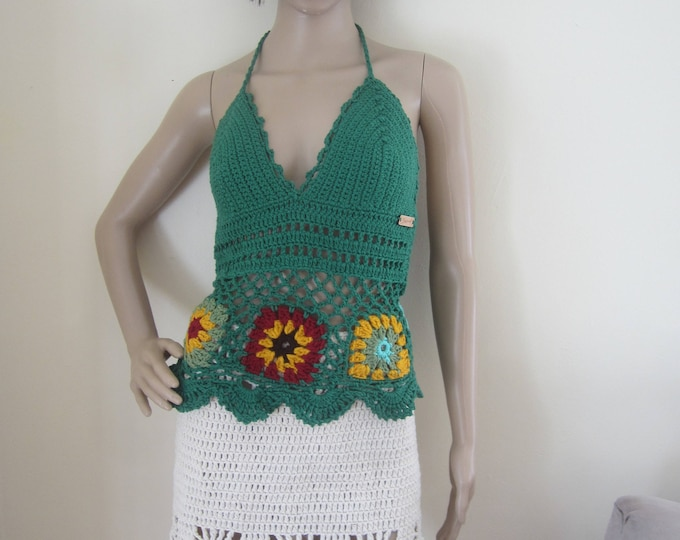 FOREST GREEN FLOWER Top, crochet halter top, boho Festival top, crochet halter top, boho, gypsy clothing, hippie, beach cover up, cover up