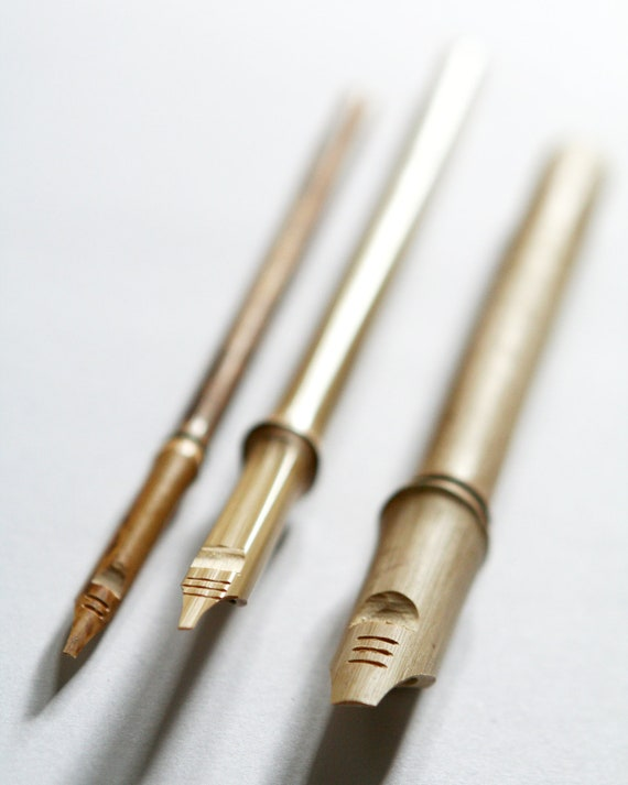 Set Of 3 Hand Carved Bamboo Ink Dip Pens For Calligraphy