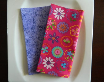 Bright Pink and Purple Napkins. Mixed Set of 4 with Flowers & Butterflies, and Swirls. Kids Napkins. Spring and Easter Napkins.