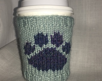Knit Coffee Sleeve, Coffee Cozy, Paw Print, Cup Cozy, Teacher gift, Stocking Stuffer, Hostess Gift, Cup Sleeve, Monogram Cozy