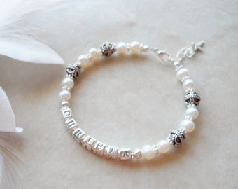 Birth to 24 Months Sterling and Freshwater Pearl Child NAME Bracelet B128