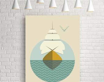 Sailboat, nautical prints, ship print, nautical wall art, nautical art, minimal art, sailboat poster, ship art, sailboat print, sailboat art