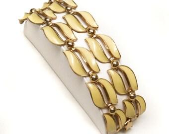 SALE! Vintage Yellow Enamel Wide Link Bracelet, Pale Yellow Vintage Bracelet Vintage Jewelry Enamel 1950's Yellow and Gold Enamel