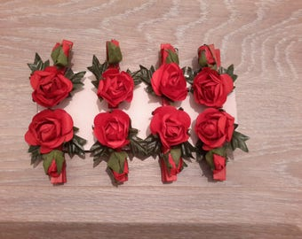 artificial flowers on a clothespin