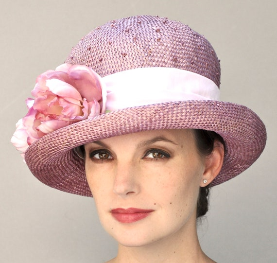 Ladies Rose Pink Hat, Tea Party Hat, Pink Straw Hat, Garden Party Hat, Wedding Hat, Dress Hat, Formal Hat, Vintage Hat