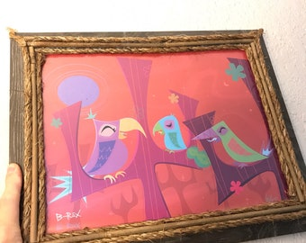 "Sleepy Birds 11x14"" Framed"